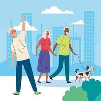 pessoas idosas fazendo diferentes atividades e hobbies ao ar livre vetor