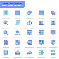 Conjunto simples Seo e desenvolvimento planas ícones para site e aplicativos móveis vetor