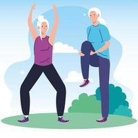 casal sênior praticando exercícios ao ar livre vetor