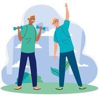 homens idosos praticando exercícios ao ar livre vetor