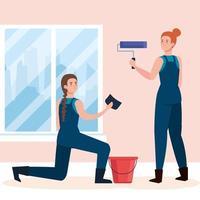 desenhos animados femininos pintando com esponja de rolo e desenho vetorial de balde vetor