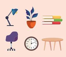 pacote de seis ícones de conjunto de móveis para casa e escritório vetor