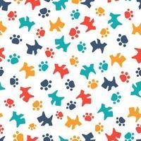 padrão sem emenda com cães coloridos e patas vetor