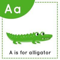 aprender o alfabeto inglês para crianças escreverem um crocodilo fofo vetor