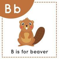 aprender o alfabeto inglês para crianças letra b bonito desenho animado vetor