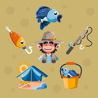 pescar no acampamento de verão vetor