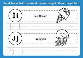 Alfabeto ij exercício com vocabulário de desenho animado para colorir livro ilustração vetorial vetor