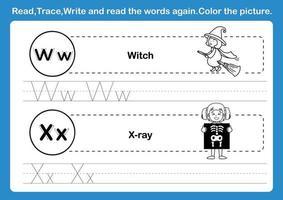 Alfabeto wx exercício com vocabulário de desenho animado para colorir livro ilustração vetorial vetor