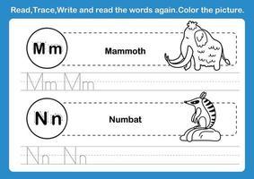 Exercício de alfabeto mn com vocabulário de desenho animado para colorir livro de ilustração vetorial vetor