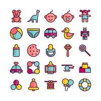conjunto de ícones de brinquedos de bebê vetor linha plana para site móvel apresentação de aplicativo de mídia social adequada para interface de usuário e experiência do usuário