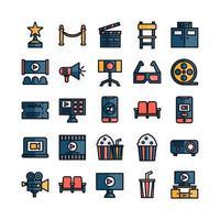 conjunto de ícones de cinema vetor linha plana para site mobile app apresentação mídia social adequada para interface e experiência do usuário