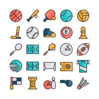 ícone do esporte conjunto vetor linha plana para site móvel apresentação de aplicativo mídia social adequada para interface de usuário e experiência do usuário