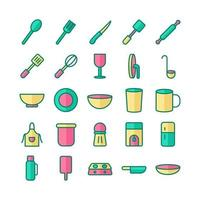 conjunto de ícones de cozinha vetor linha plana para site móvel apresentação de aplicativo mídia social adequada para interface e experiência do usuário