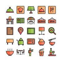 conjunto de ícones de restaurante vetor linha plana para site móvel apresentação de aplicativo mídia social adequada para interface e experiência do usuário
