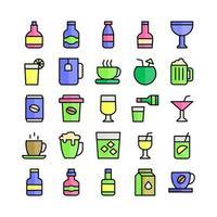 ícone de bebida conjunto linha plana de vetor para site móvel apresentação de aplicativo mídia social adequada para interface e experiência do usuário
