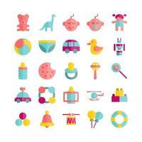 conjunto de ícones de brinquedos para bebês, plano de vetor para site, apresentação de aplicativo móvel mídia social adequada para interface de usuário e experiência do usuário