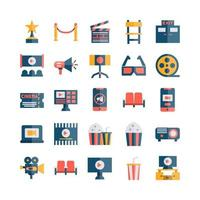 conjunto de ícones de cinema vetor plano para site móvel apresentação de aplicativo mídia social adequada para interface de usuário e experiência do usuário