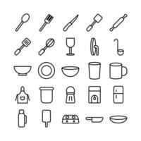 conjunto de ícones de cozinha linha de vetor para site móvel apresentação de aplicativo mídia social adequada para interface e experiência do usuário