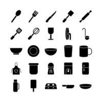 conjunto de ícones de cozinha vetor sólido para site móvel apresentação de aplicativo mídia social adequada para interface de usuário e experiência do usuário