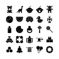 conjunto de ícones de brinquedos para bebês sólido vetorial para mídia social de apresentação de aplicativo móvel de site adequado para interface de usuário e experiência do usuário vetor
