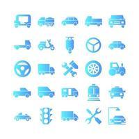 ícone do automóvel conjunto gradiente de vetor para mídia social de apresentação de aplicativo móvel de site adequado para interface de usuário e experiência do usuário