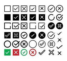 ícone de marca de seleção definir símbolo certo e errado vetor