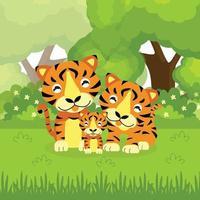 família de tigre fofo na selva vetor