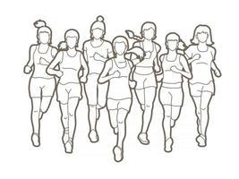 grupo de mulheres corredoras de maratona correndo vetor