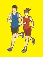 casal correndo homem e mulher correndo vetor