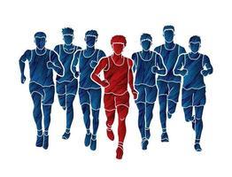 grupo de homens corredores de maratona correndo vetor