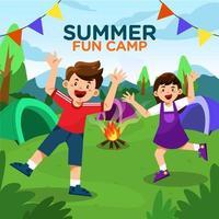 crianças felizes na festa do acampamento de verão vetor