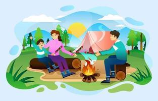 família feliz churrasco no acampamento de verão vetor
