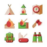 ícones de elementos planos de acampamento vetor