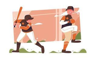 homens jogando beisebol no verão vetor