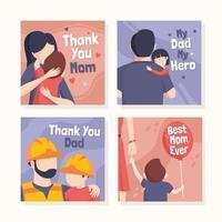 cartão definido do dia dos pais vetor