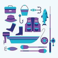 pacote de ícones de equipamento de pesca vetor