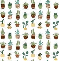 padrão sem emenda de plantas em vasos em casa. flores de interior. vetor