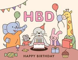 amigos animais se reúnem para comemorar o aniversário da lontra. ilustração em vetor mínimo estilo design plano.