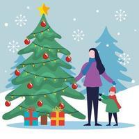 Feliz Natal mãe e filha com pinheiro e desenho vetorial de presentes vetor