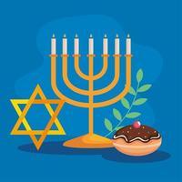 feliz hanukkah menorá, estrela e desenho vetorial sufganiot vetor