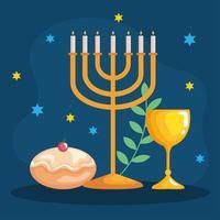 feliz hanukkah menorá, cálice e desenho vetorial de sufganiot vetor