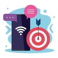 smartphone com design de vetor alvo, wi-fi e bolhas
