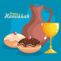 copo hanukkah feliz, jarro de óleo e desenho vetorial sufganiot vetor