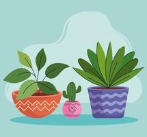 três plantas caseiras em vasos de cerâmica vetor