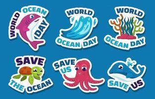 pacote de adesivos do dia mundial do oceano vetor