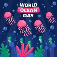 conceito do dia mundial do oceano com animais marinhos vetor