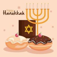 feliz hanukkah menorá, torá e desenho vetorial sufganiot vetor