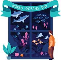 conceito do dia mundial dos oceanos vetor