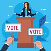 dia da eleição, mulher no pódio. mãos segurando banners de votação desenho vetorial vetor