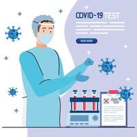 médico de teste de vírus covid 19 com máscara, uniforme, tubos e design de vetor de documento médico